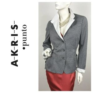 AKRIS New Gray Black Knit Cotton Stretch Jacket